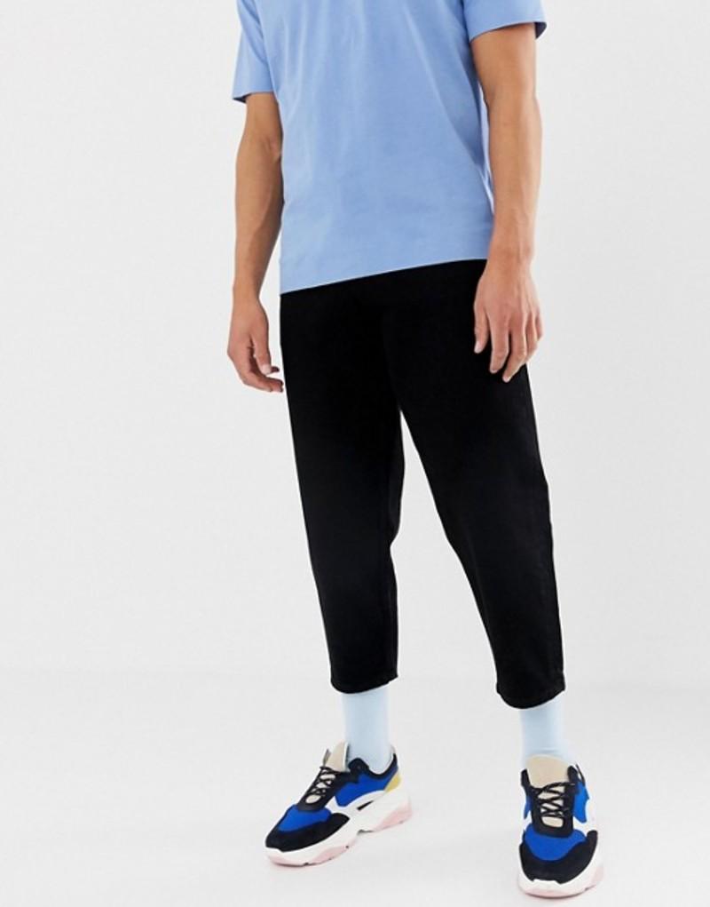 エイソス メンズ デニムパンツ ボトムス ASOS WHITE tapered cropped jeans in 14 oz black denim Black