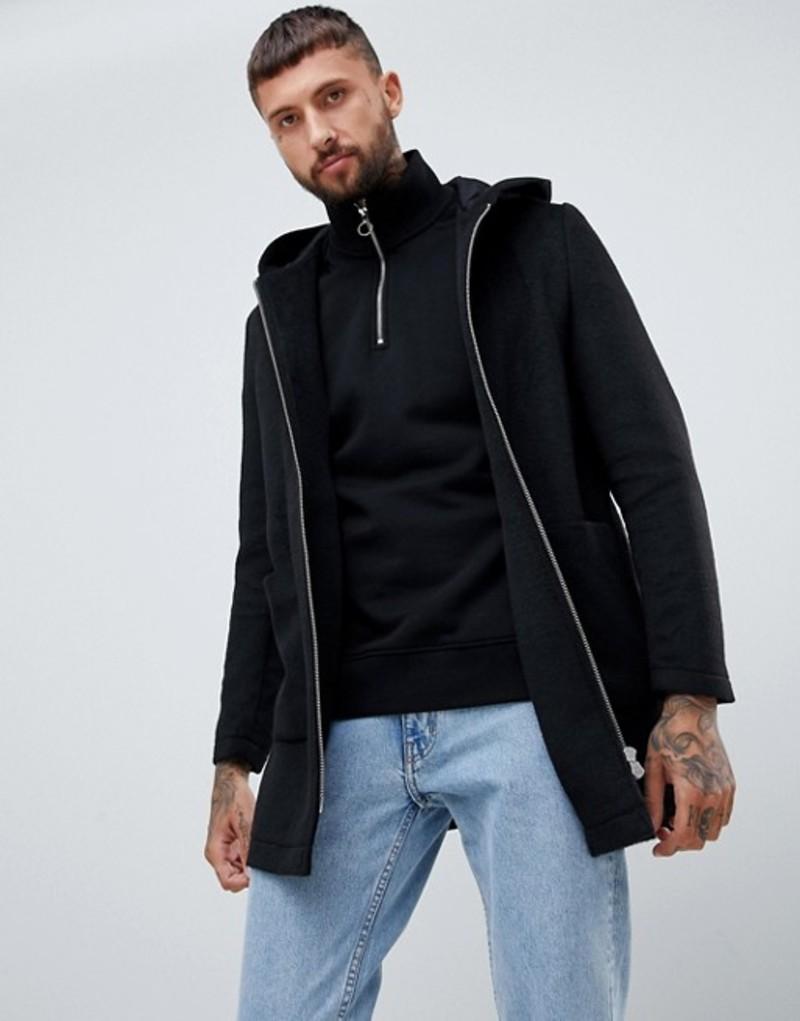 エイソス メンズ コート アウター ASOS DESIGN wool mix hooded overcoat in black Black