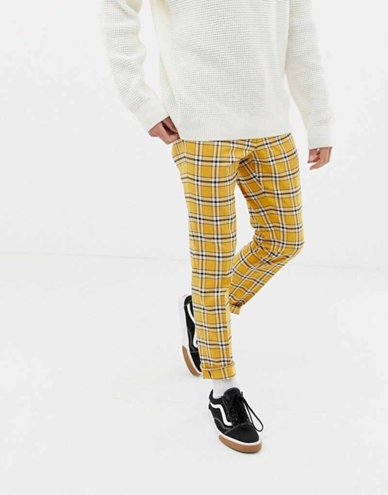 エイソス メンズ カジュアルパンツ ボトムス ASOS DESIGN skinny smart PANTS in bright yellow check with drawcord waist Yellow