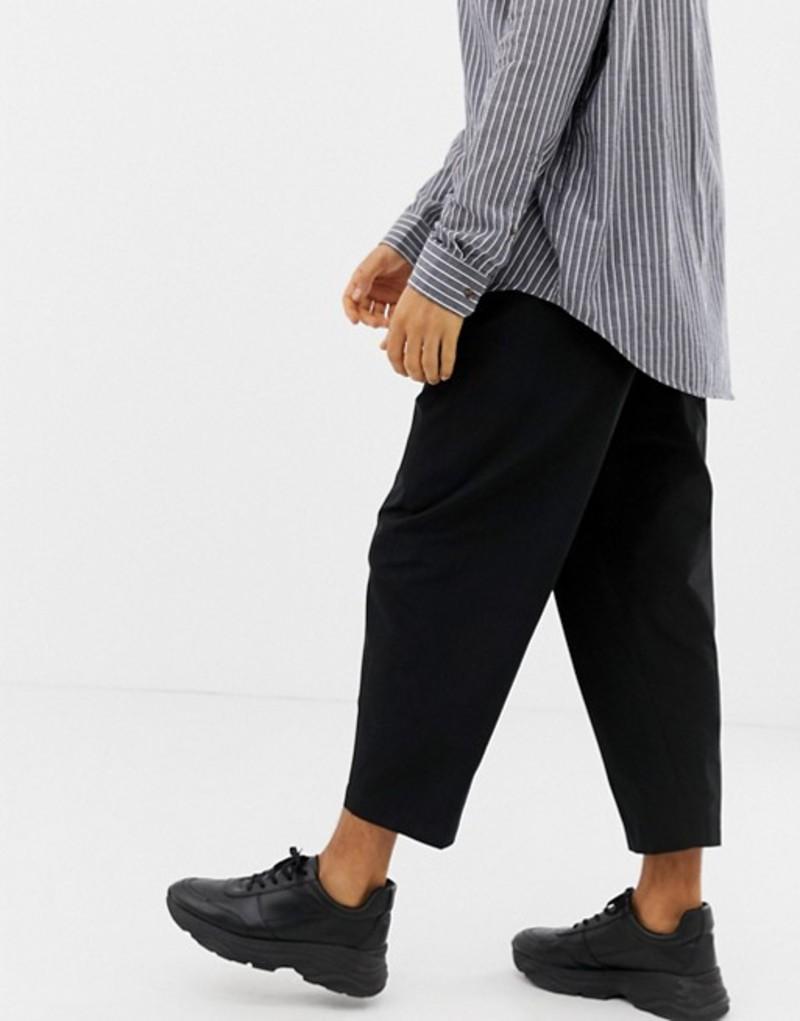 エイソス メンズ カジュアルパンツ ボトムス ASOS DESIGN tapered smart PANTS in techy fabric Black