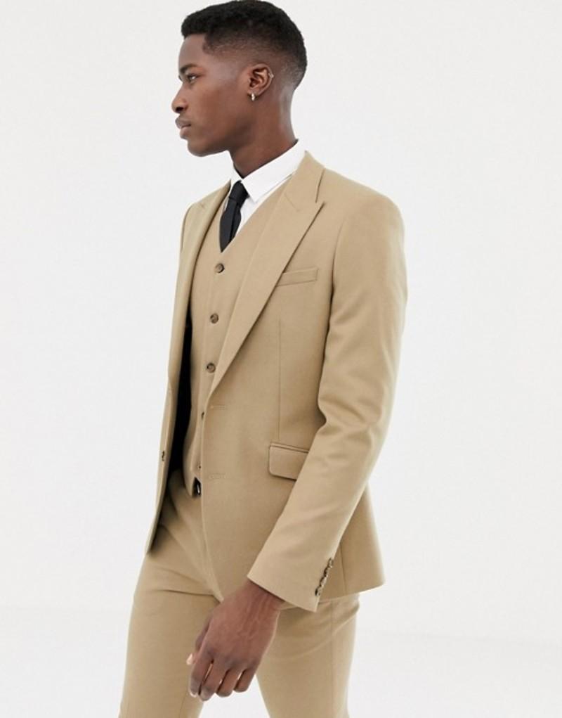 エイソス メンズ ジャケット・ブルゾン アウター ASOS DESIGN skinny suit jacket in camel micro texture Camel