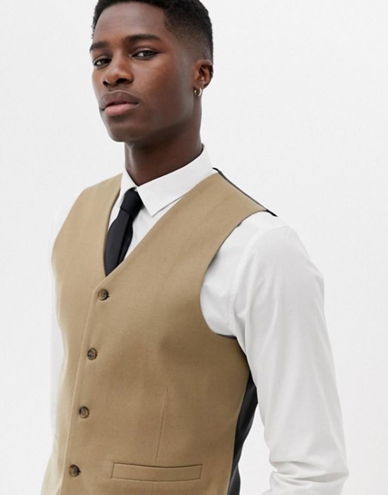 エイソス メンズ タンクトップ トップス ASOS DESIGN skinny suit vest in camel micro texture Camel