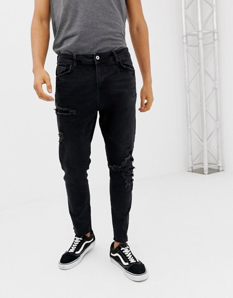 ベルシュカ メンズ デニムパンツ ボトムス Bershka Join Life slim fit jeans in washed black Black