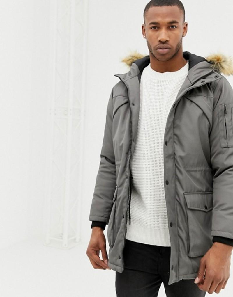 ベルシュカ メンズ パーカー・スウェット アウター Bershka parka jacket in gray with faux fur hood Grey