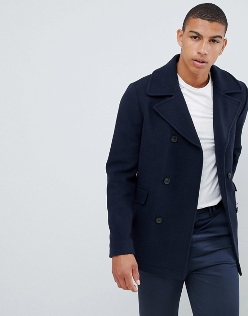 セレクテッドオム メンズ コート アウター Selected Homme recycled wool peacoat Dark navy twill