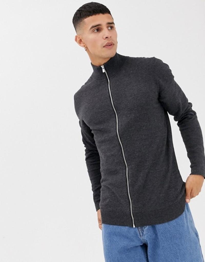 ジャック アンド ジョーンズ メンズ カーディガン アウター Jack & Jack Premium knitted zip thru cardigan Grey
