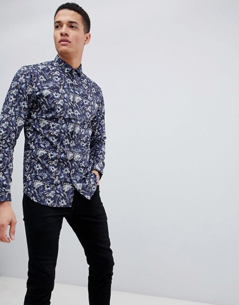 ジャック アンド ジョーンズ メンズ シャツ トップス Jack & Jones Premium slim floral print shirt Navy