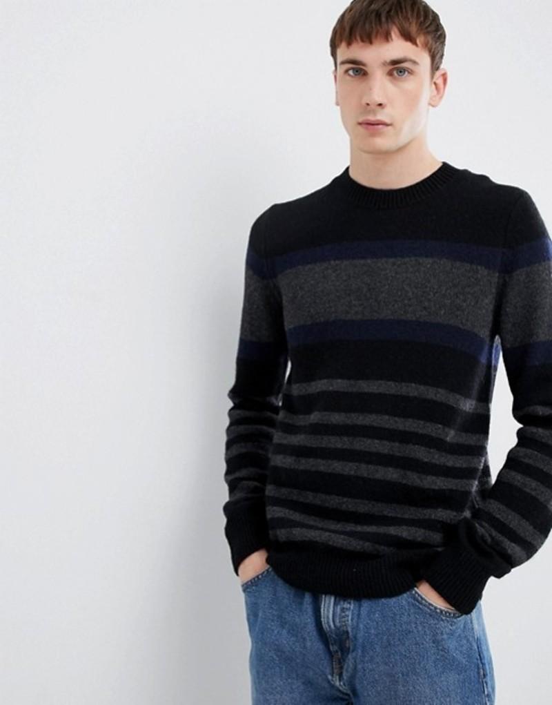 セレクテッドオム メンズ ニット・セーター アウター Selected Homme knitted sweater with block stripe in lambswool Black