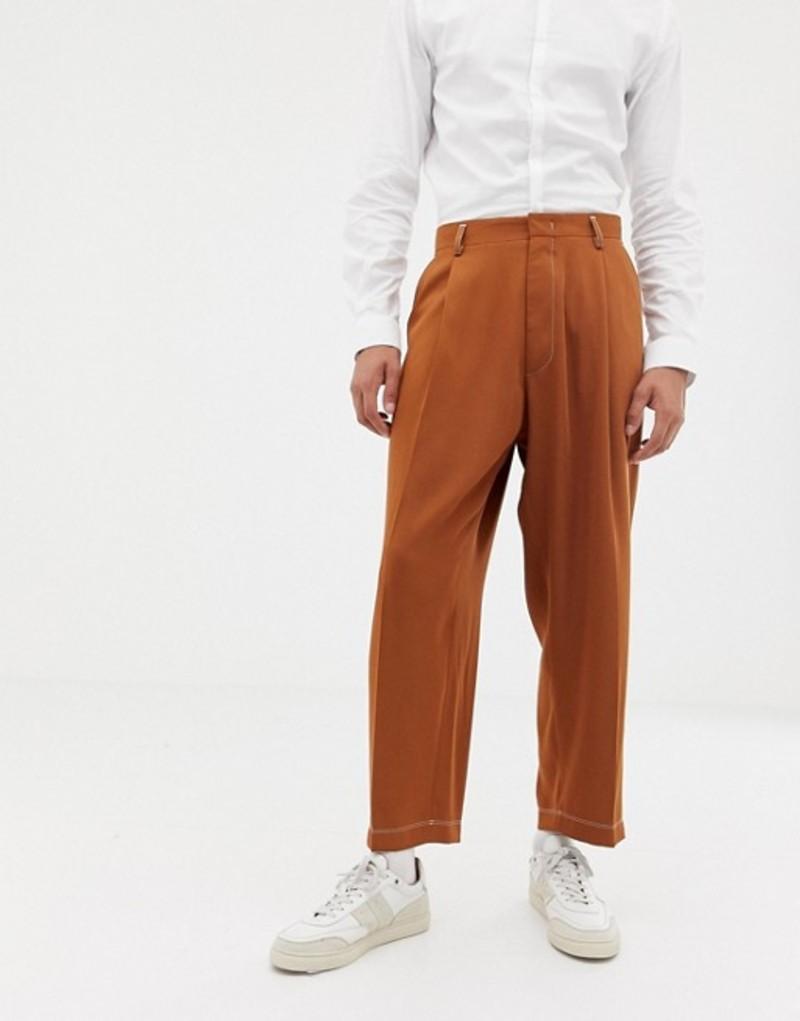ノーク メンズ カジュアルパンツ ボトムス Noak wide leg smart pants in camel with pleats Camel