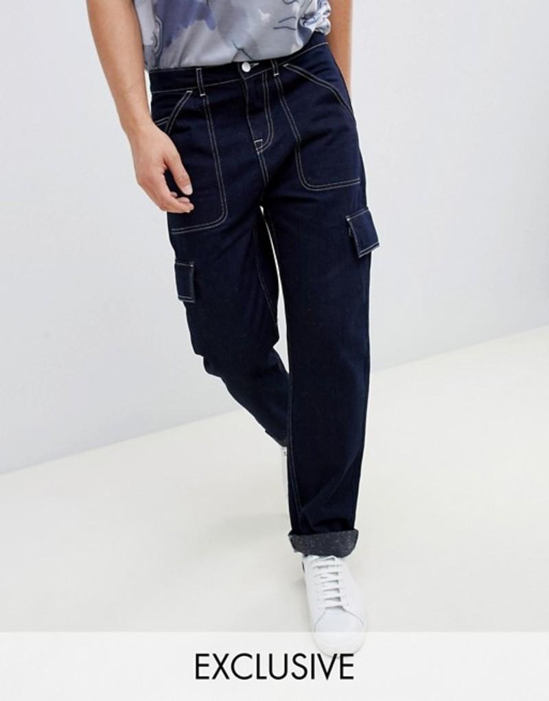 ノーク メンズ カジュアルパンツ ボトムス Noak straight leg cargo pants in dark navy with white stitching Dark navy