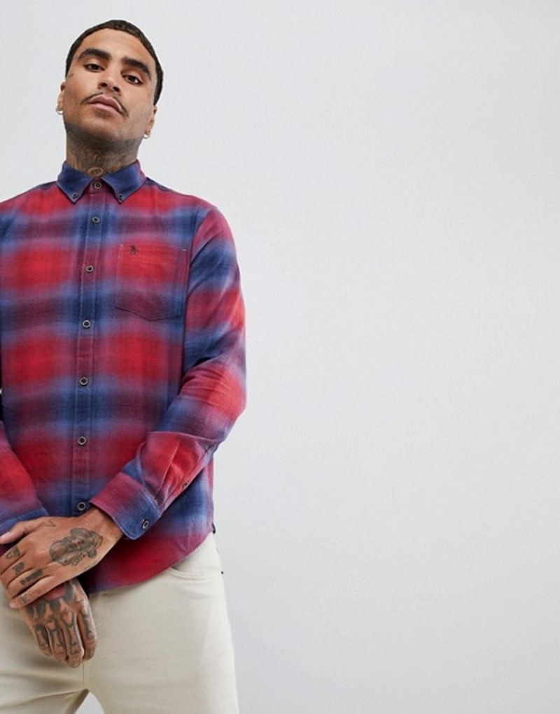 オリジナルペンギン メンズ シャツ トップス Original Penguin graduated check buttondown shirt heritage slim fit small logo in red/blue Biking red