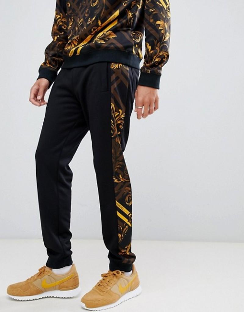 ヴェルサーチ メンズ カジュアルパンツ ボトムス Versace Jeans skinny joggers with yellow baroque side stripe Black