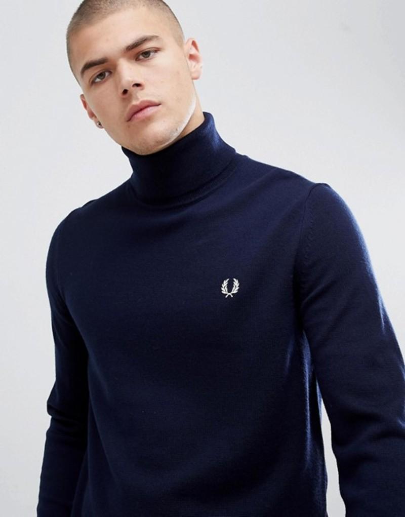 フレッドペリー メンズ ニット・セーター アウター Fred Perry roll neck merino knitted sweater in navy Navy
