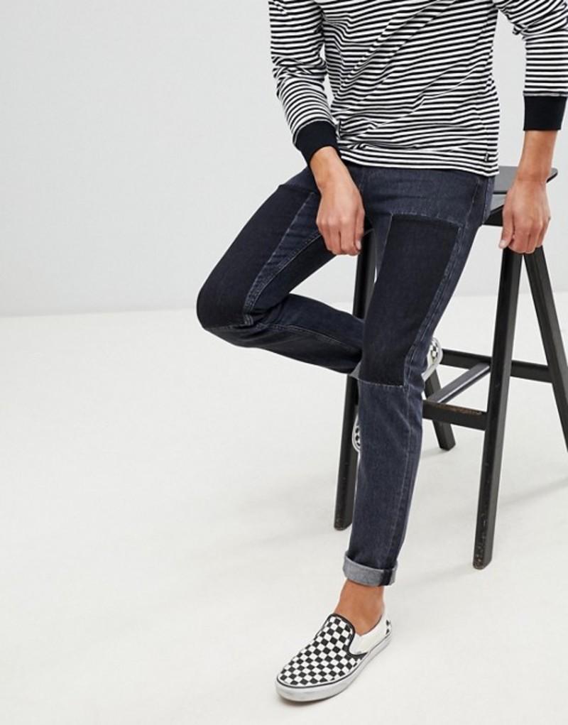 カルバンクライン メンズ デニムパンツ ボトムス Calvin Klein Jeans slim jeans with patches washed black Wolf black