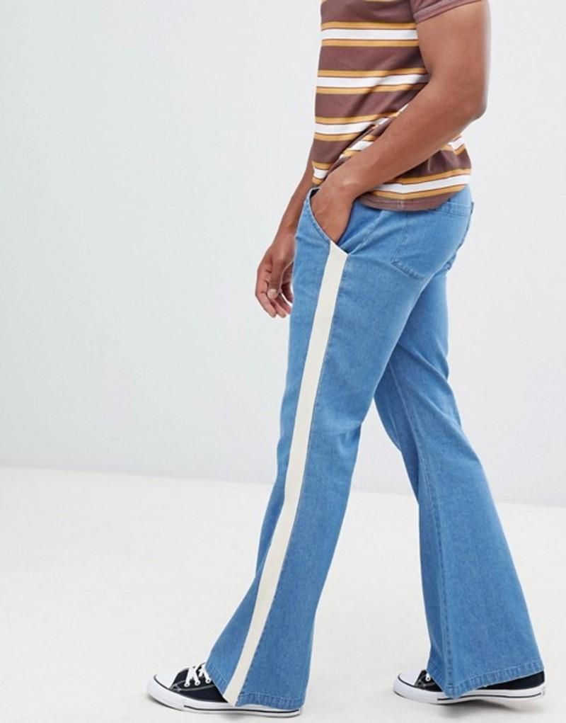 スケアードホーク メンズ デニムパンツ ボトムス Sacred Hawk flared jeans with side stripe Blue
