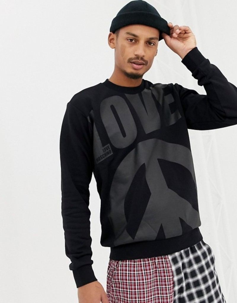 ラブ モスキーノ メンズ パーカー・スウェット アウター Love Moschino peace print sweater Black