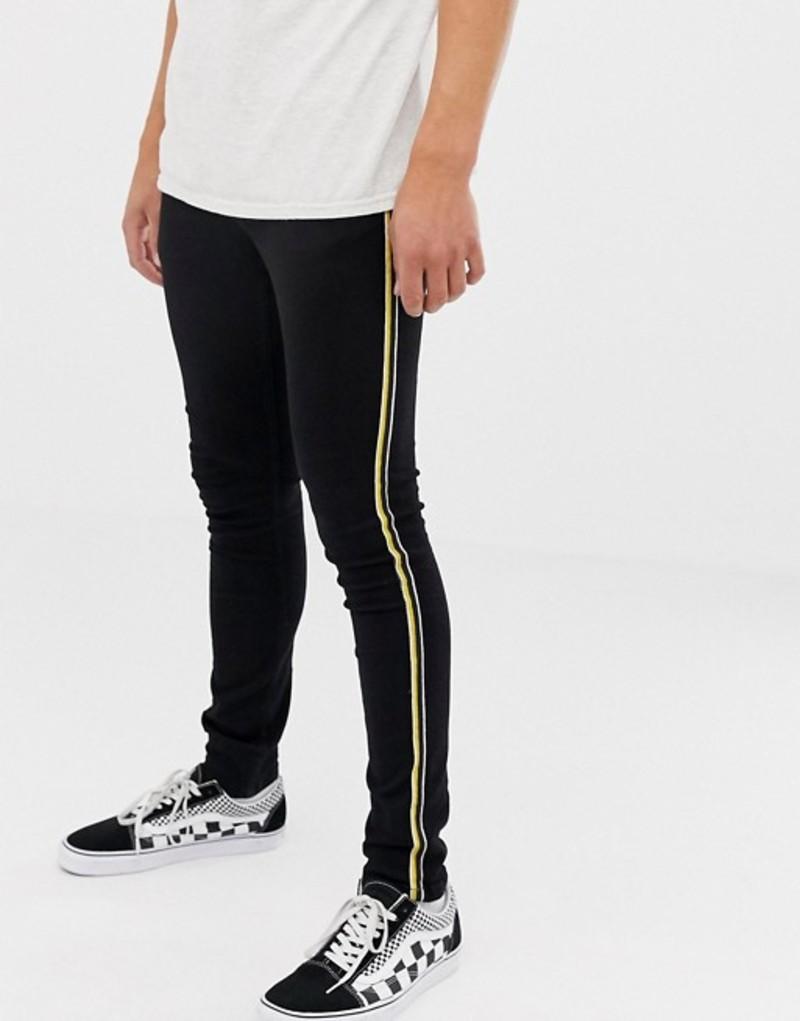 ブルックリンサプライ メンズ デニムパンツ ボトムス Brooklyn Supply Co super skinny black jean with side taping Black