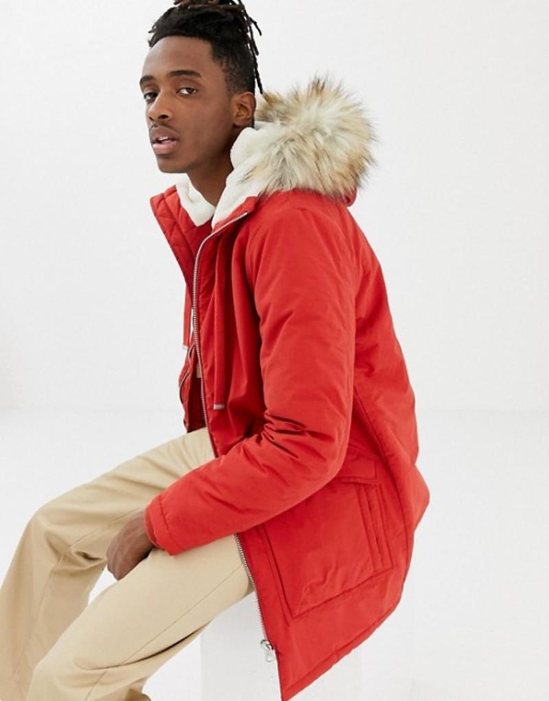 プルアンドベアー メンズ パーカー・スウェット アウター Pull&Bear fleece lined parka in red Red