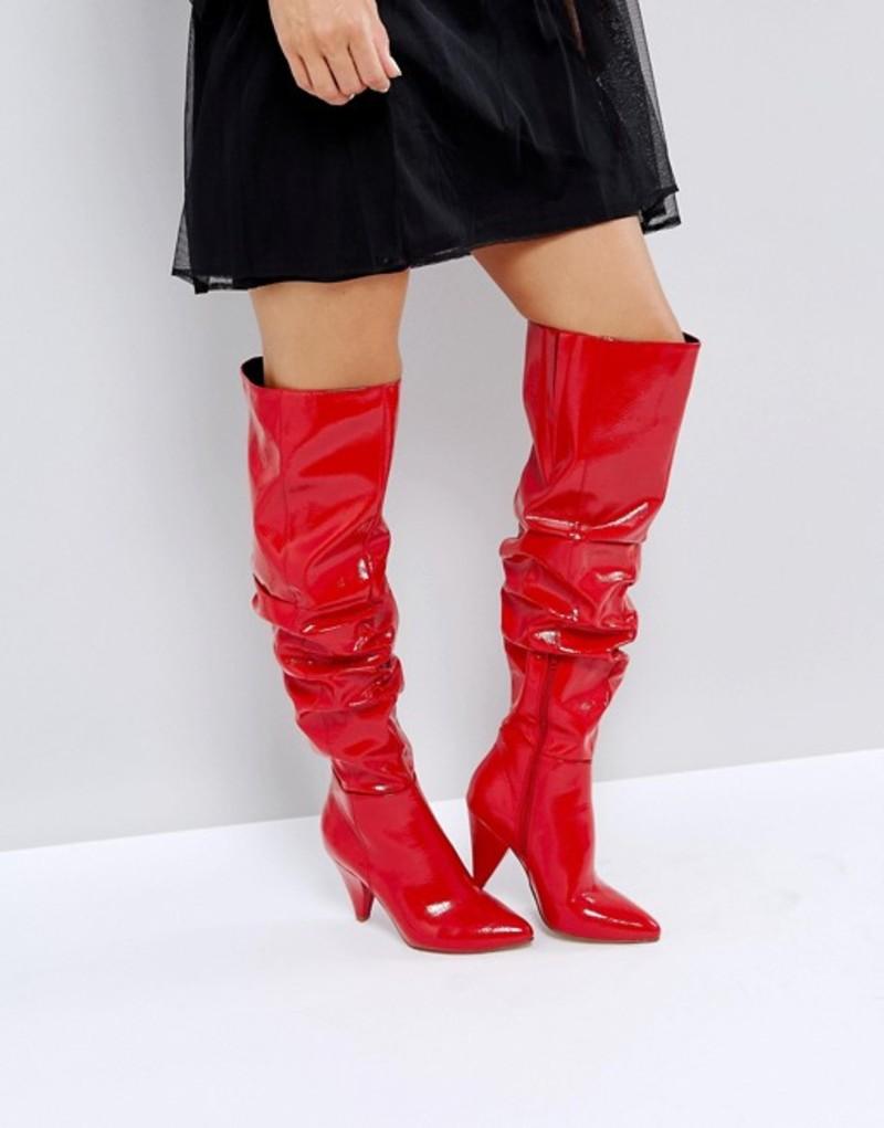 ミスセルフフリッジ レディース ブーツ・レインブーツ シューズ Miss Selfridge Over The Knee Patent Boot Red