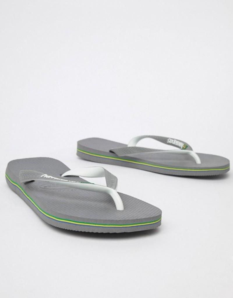 ハワイアナス メンズ サンダル シューズ Havaianas Brasil Logo flip flops in gray Grey