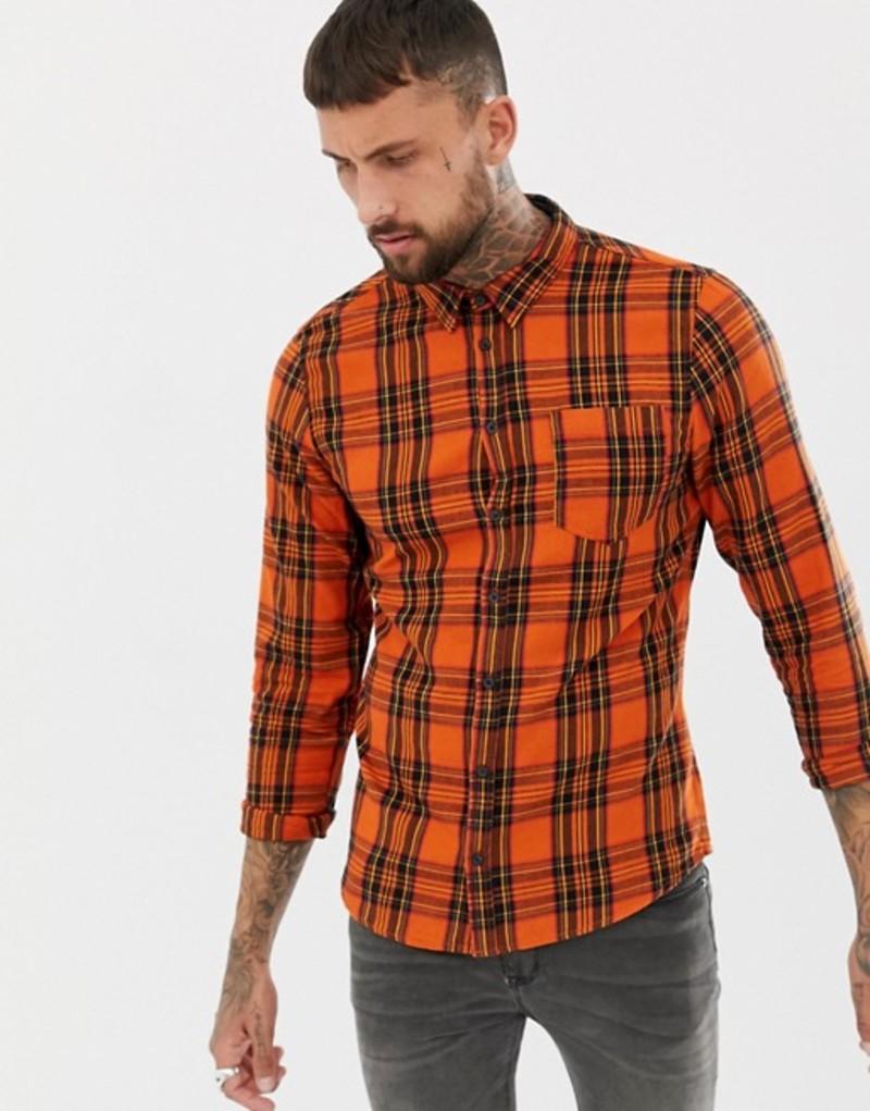ブレンド メンズ シャツ トップス Blend lumber checked shirt 73851 rust oran