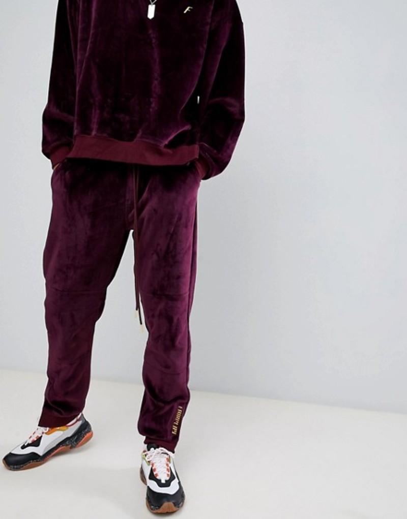 フェアプレイ メンズ カジュアルパンツ ボトムス Fairplay velour joggers with embroidery in burgundy Red