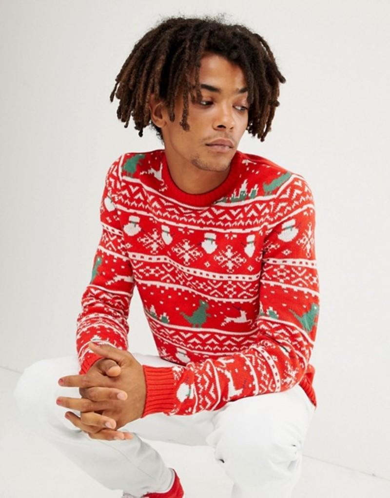 オンリーアンドサンズ メンズ ニット・セーター アウター Only & Sons christmas sweater with novelty fairisle Haute red