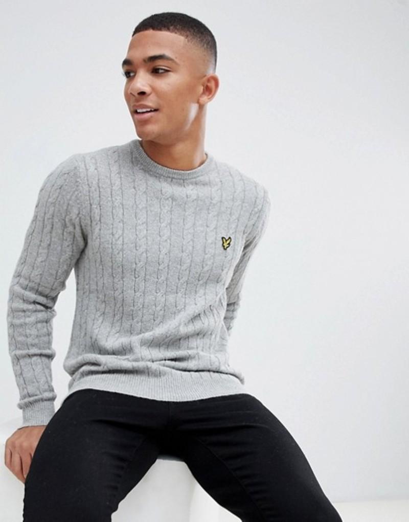 ライルアンドスコット メンズ ニット・セーター アウター Lyle & Scott cable knit crew neck wool blend sweater in light gray Grey