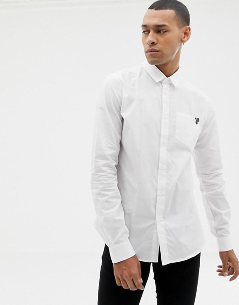 ヴェルサーチ メンズ シャツ トップス Versace Jeans slim shirt with chest logo White