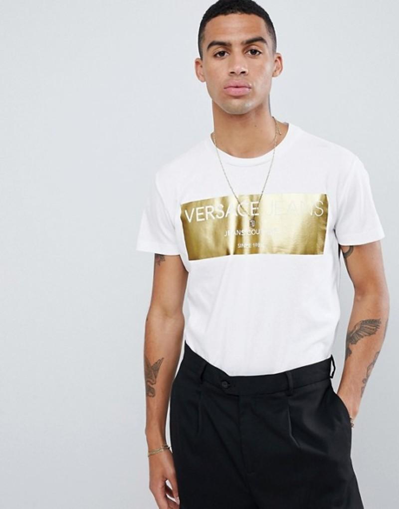 ヴェルサーチ メンズ Tシャツ トップス Versace Jeans t-shirt with gold logo print White