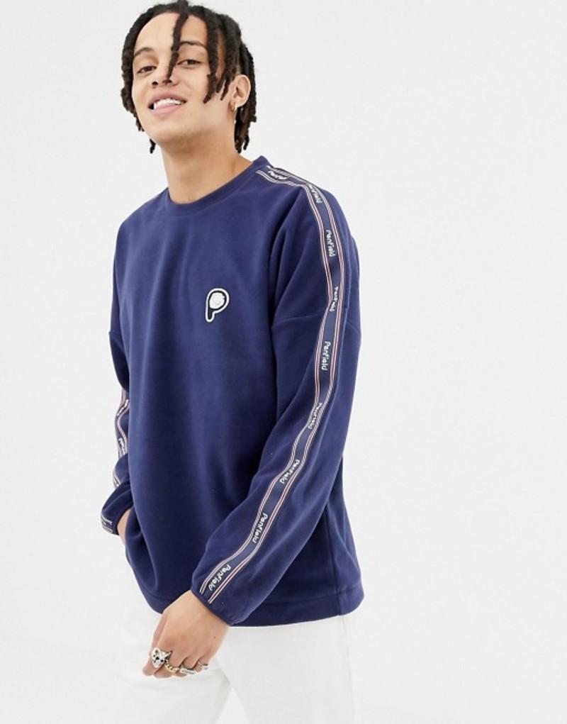 ペンフィールド メンズ パーカー・スウェット アウター Penfield Arcus Bear logo fleece sweatshirt side taping in navy Peacoat