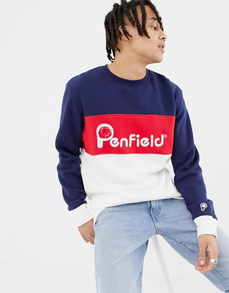 ペンフィールド メンズ パーカー・スウェット アウター Penfield Hudson color block logo sweatshirt in navy multi Peacoat