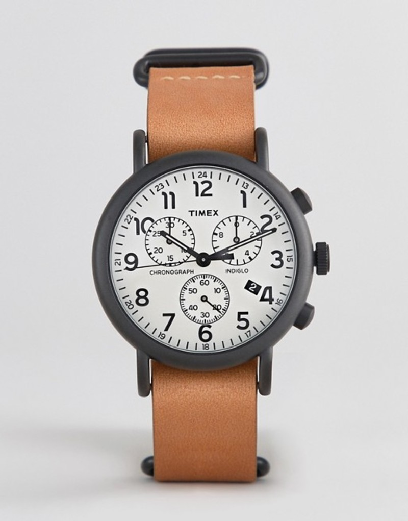 タイメックス メンズ 腕時計 アクセサリー Timex Weekender chronograph leather watch 40mm exclusive to ASOS Brown