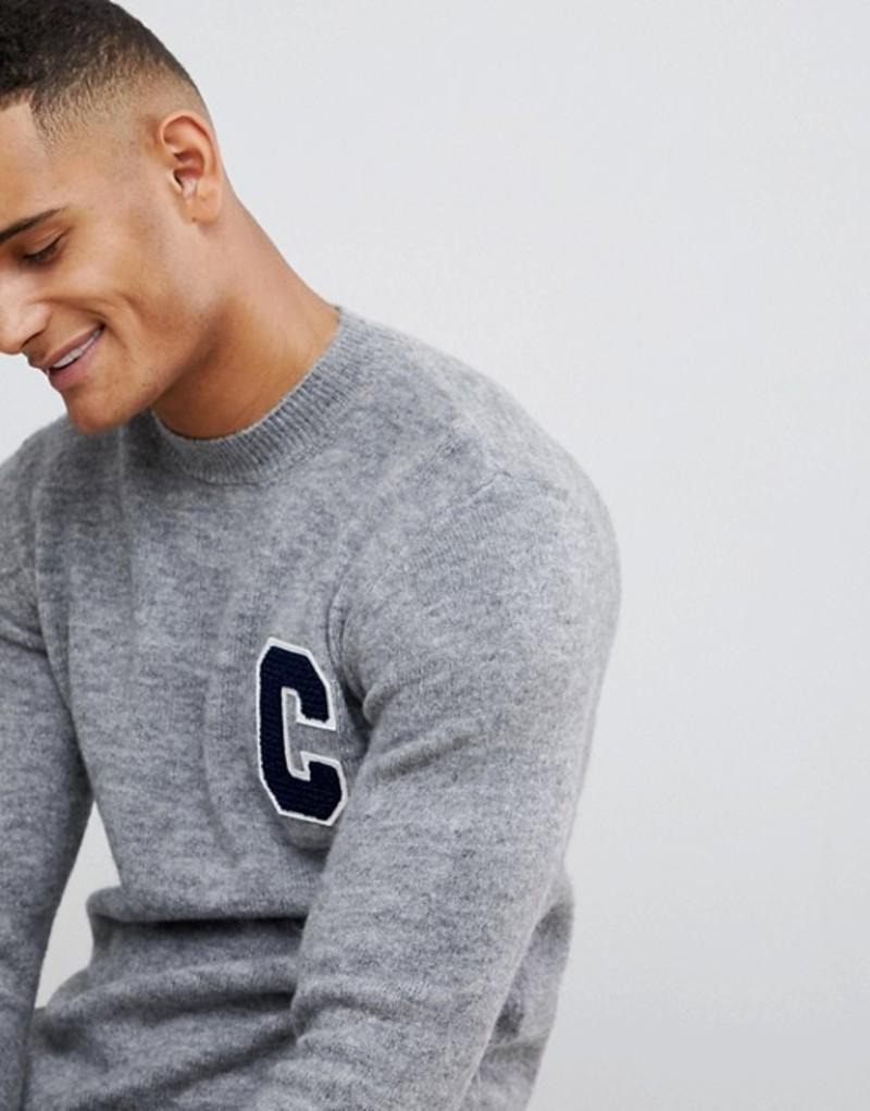 ニュールック メンズ ニット・セーター アウター New Look collegiate sweater with crew neck in gray Light grey