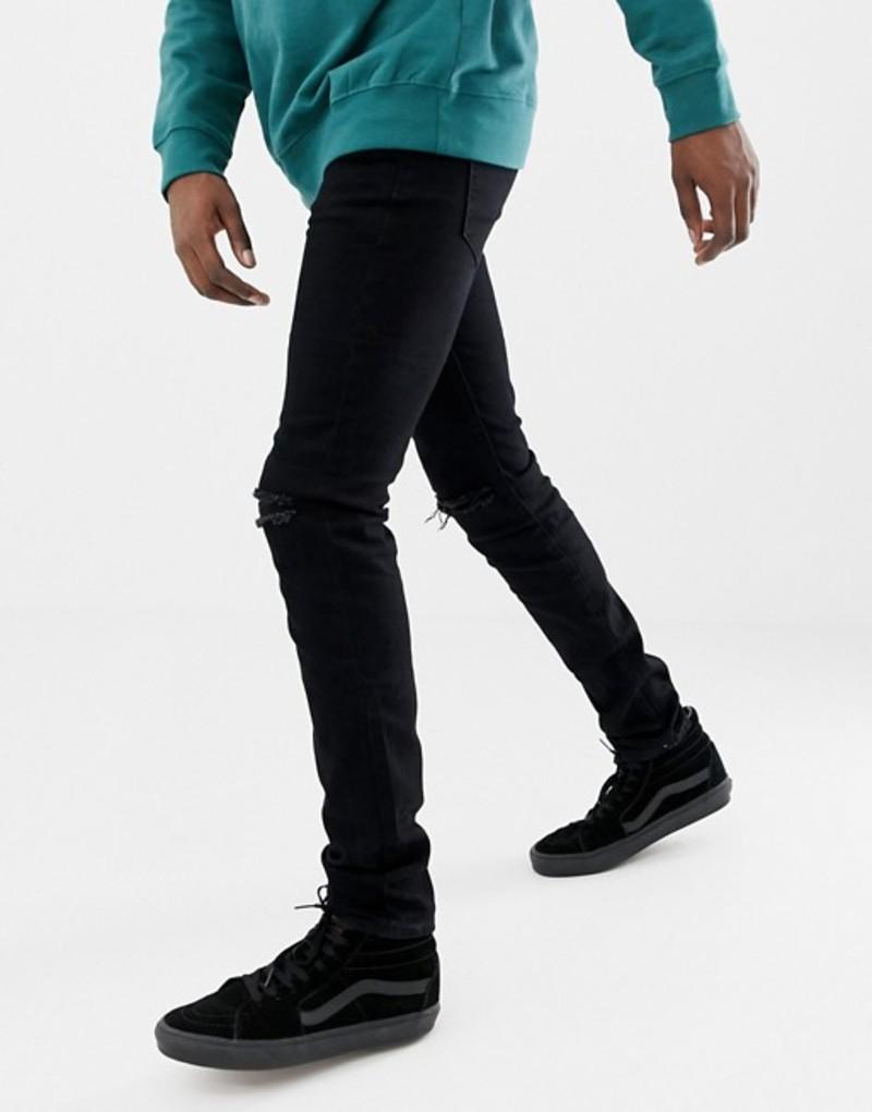 シックスジュン メンズ デニムパンツ ボトムス Sixth June skinny jeans in black with knee rip Black