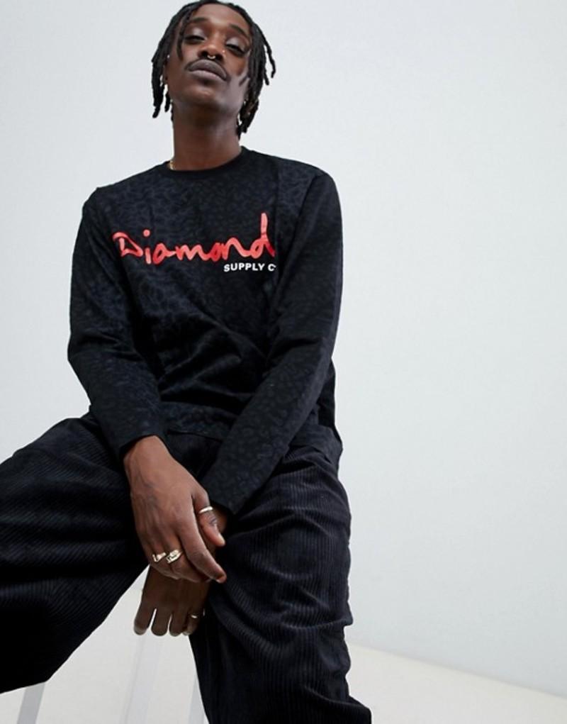 ダイヤモンドサプライ メンズ Tシャツ トップス Diamond Supply Cheetah Print Long Sleeve T-Shirt In Black Black