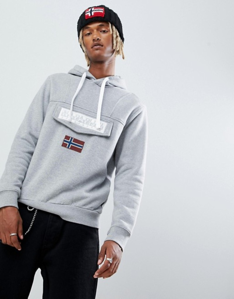 ナパピリ メンズ パーカー・スウェット アウター Napapijri Burgee logo hoodie in gray Grey