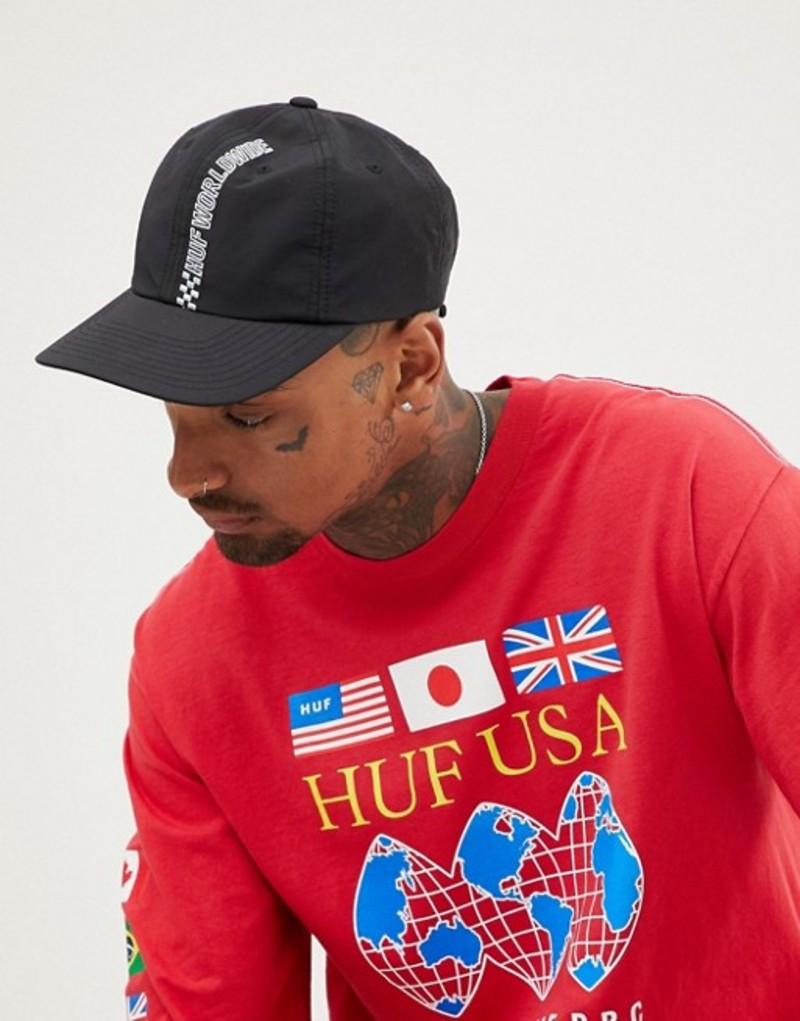 ハフ メンズ 帽子 アクセサリー HUF Baseball Cap With Embroidered Racing Logo In Black Black