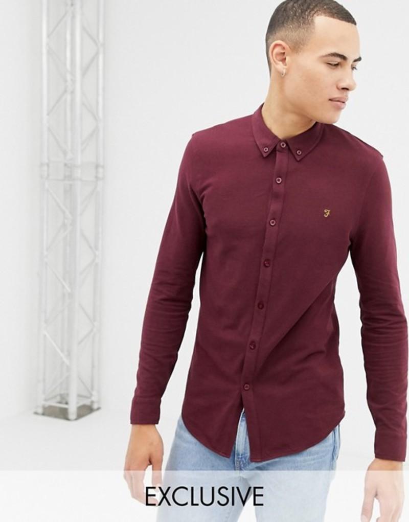 ファーラー メンズ シャツ トップス Farah Pique Jersey Shirt in Red Red