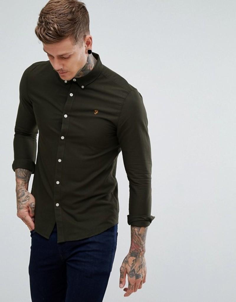 ファーラー メンズ シャツ トップス Farah Brewer slim fit oxford shirt in green Green