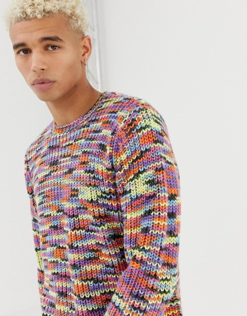 エイソス メンズ ニット・セーター アウター ASOS DESIGN heavyweight fisherman rib sweater in rainbow yarn Multi