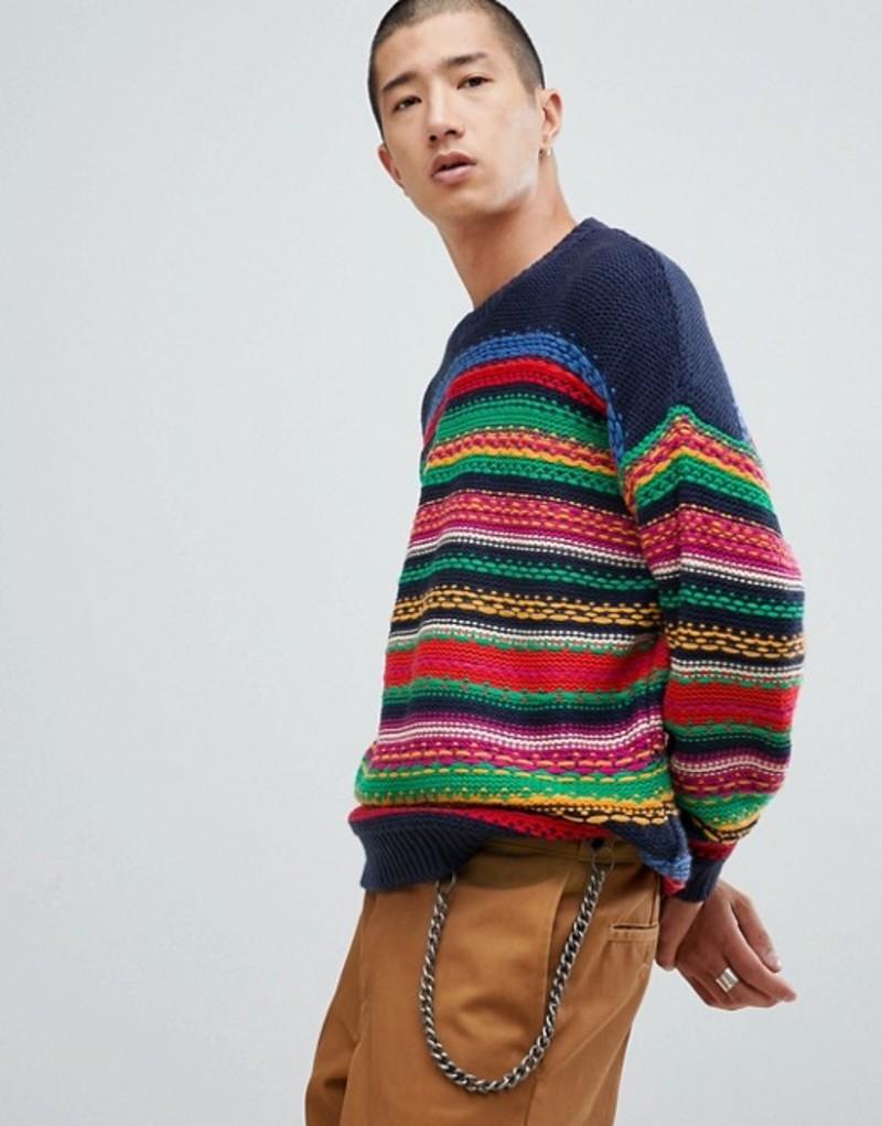 エイソス メンズ ニット・セーター アウター ASOS DESIGN MULTICOLOR striped textured sweater Multi