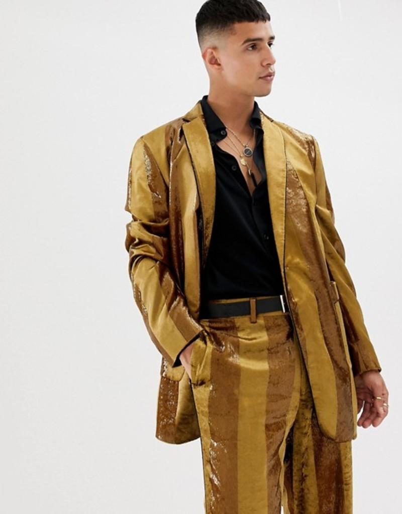 エイソス メンズ ジャケット・ブルゾン アウター ASOS DESIGN oversized suit jacket in tonal velvet mustard stripe Mustard