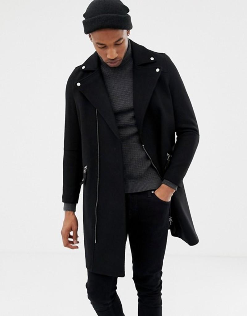 エイソス メンズ コート アウター ASOS DESIGN wool mix biker overcoat in black Black