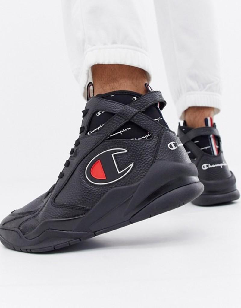チャンピオン メンズ スニーカー シューズ Champion Zone 93 High Leather Sneakers In Black Black
