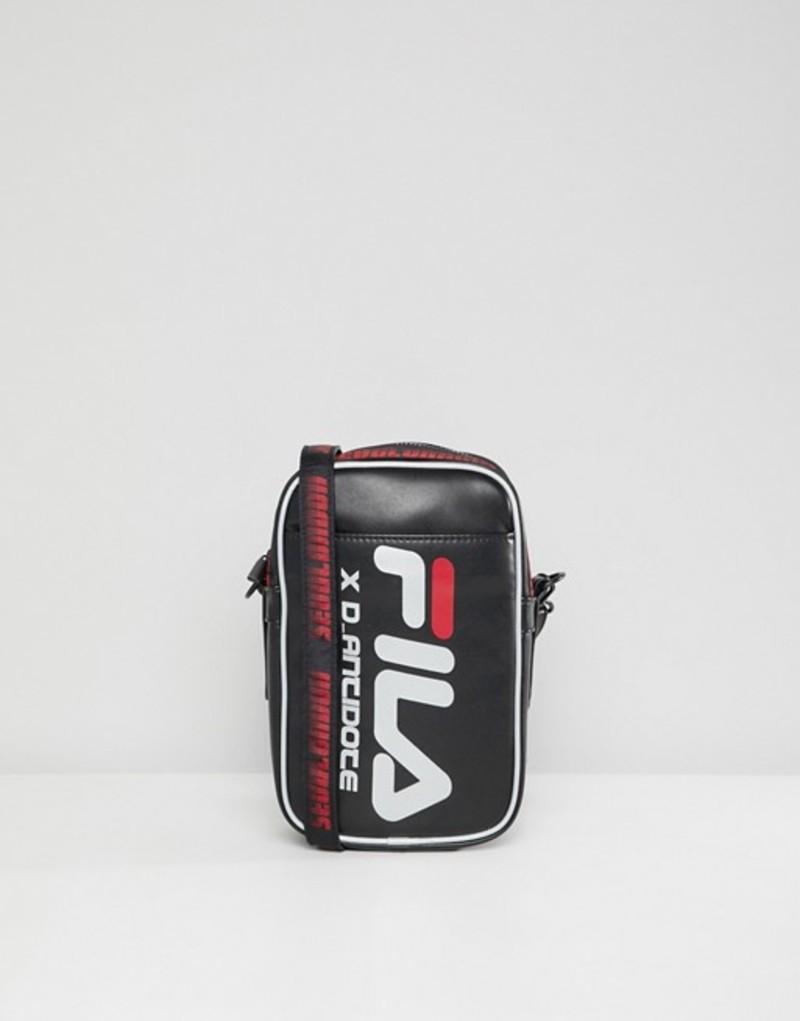ディー アンチドート メンズ トラベルケース・パスポートケース バッグ D-Antidote x Fila cross body flight bag with large logo Black