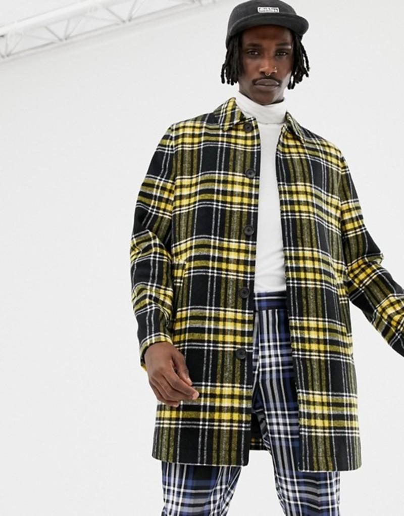 エイソス メンズ コート アウター ASOS DESIGN wool mix trench coat in yellow check Black
