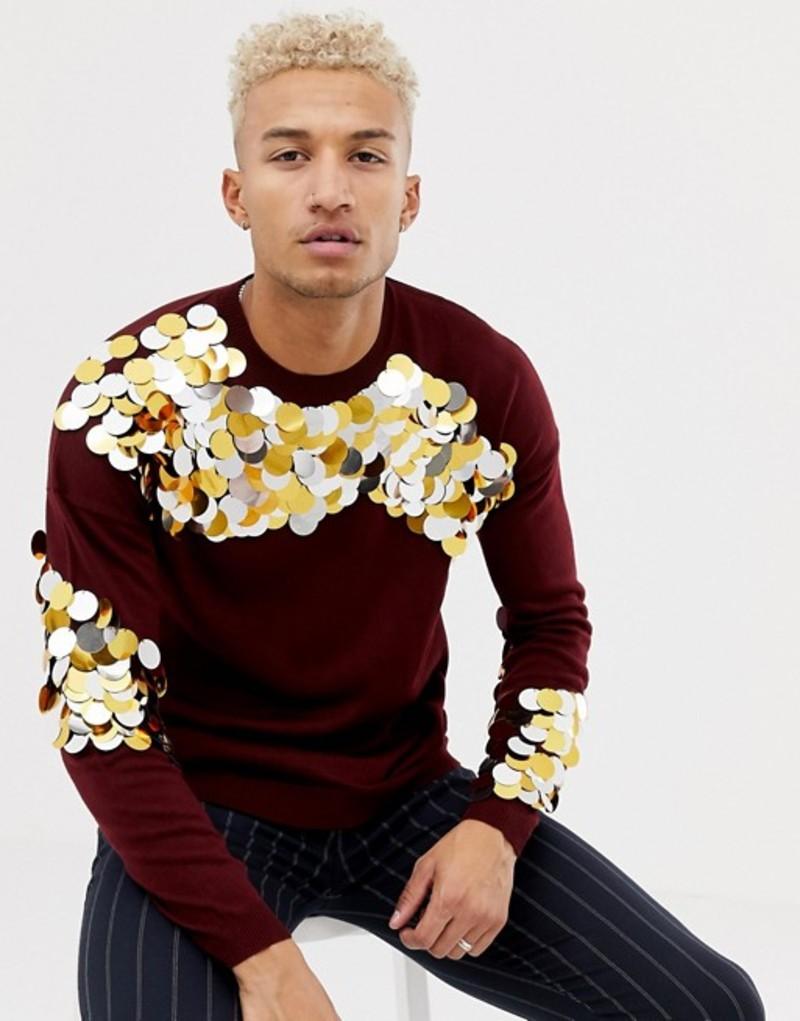 エイソス メンズ ニット・セーター アウター ASOS DESIGN knitted sequin sweater in burgundy Burgundy