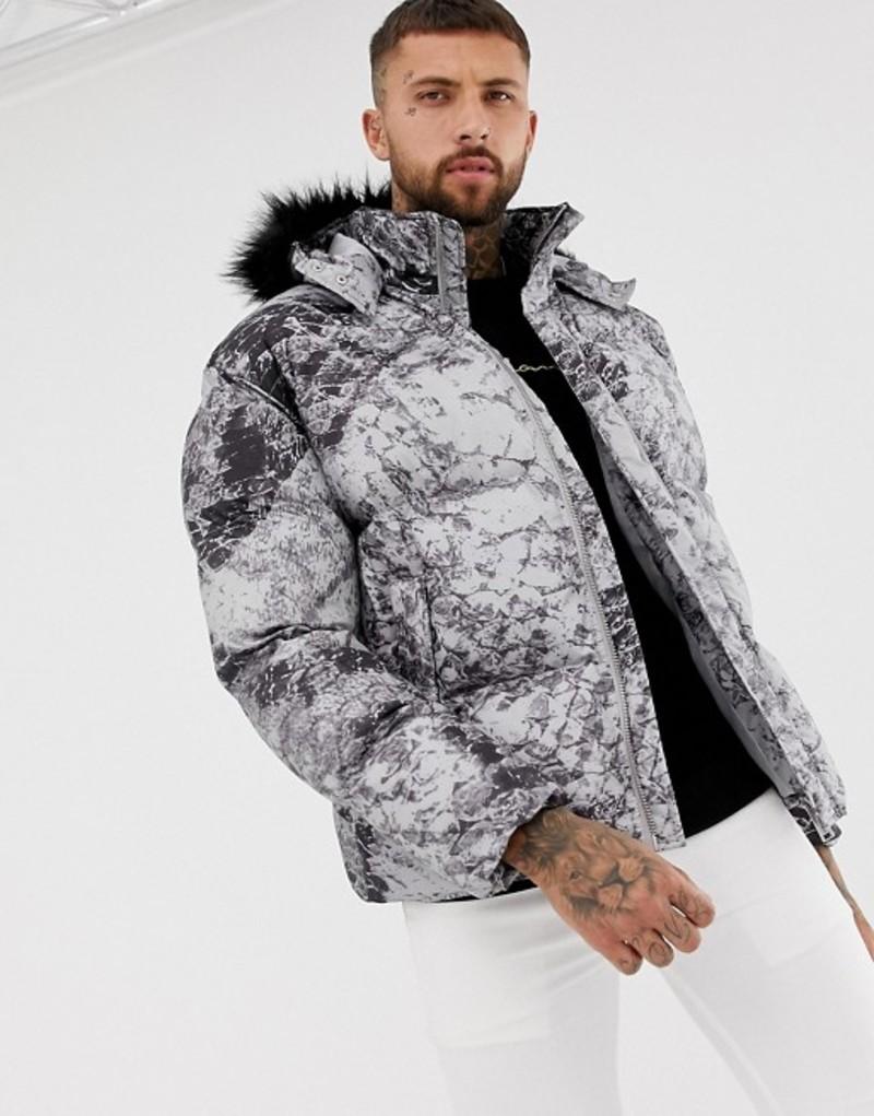 ブーフーマン メンズ ジャケット・ブルゾン アウター boohooMAN puffer jacket with detachable hood in gray Grey