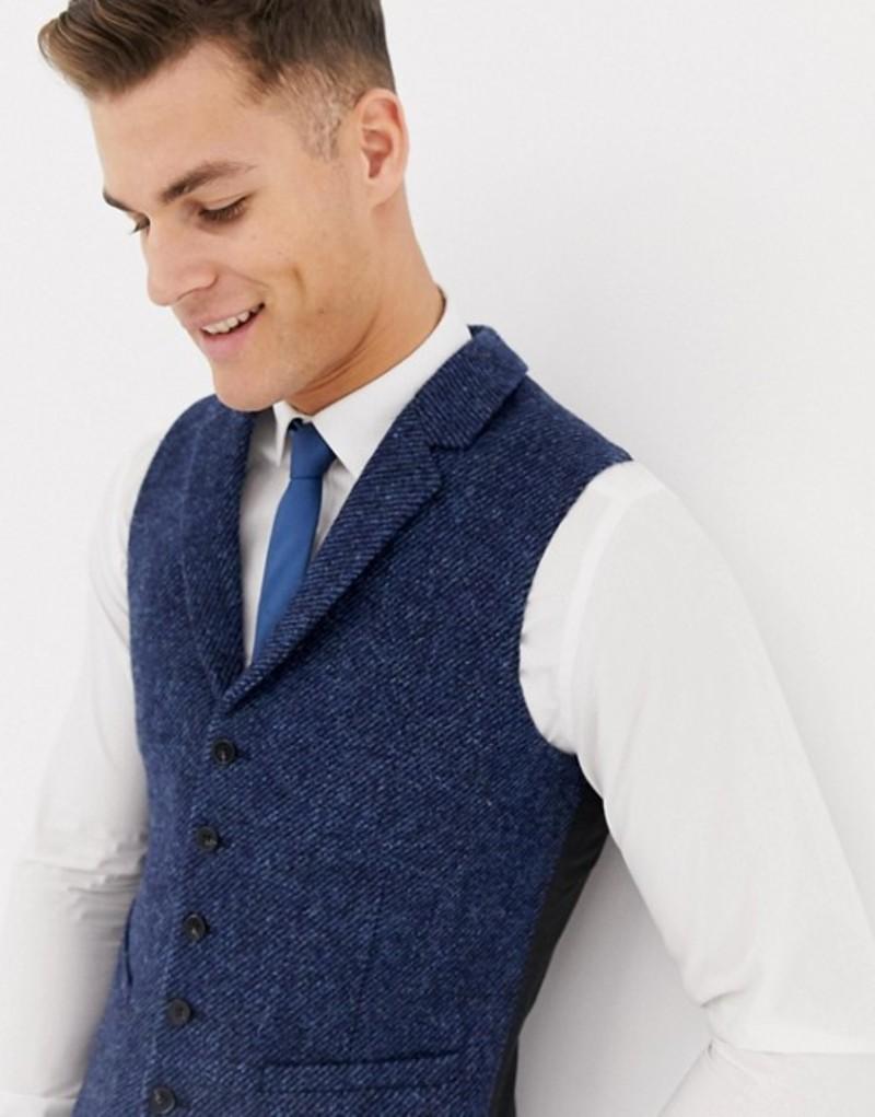エイソス メンズ タンクトップ トップス ASOS DESIGN wedding slim suit vest in 100% wool Harris Tweed in navy twill Navy